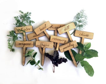 Herb Garden Plant Markers / Wood Engraved Tags / Set of 10 Labels