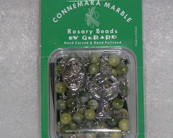 Hand Carved Connemara Marble Rosary Beads