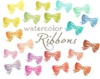 Digital Ribbons Clipart, Watercolor Bows, Paper Ribbons