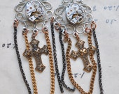 Steampunk earrings with vintage watch parts, cross charms and mixed chains