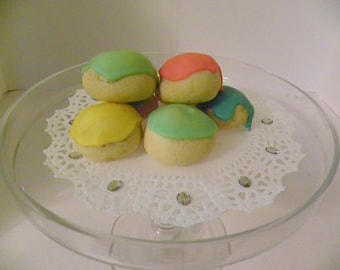 Old Fashioned Italian Wedding Cookies Colorful Icing 2 Dozen Lemon Flavored