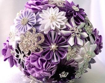 "Fabric Wedding Bouquet, brooch bouquet ""Lilac Charm"", Purple, Dark purple, White and Light purple"