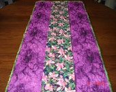 Clearance ! Purple Table Runner, Quilted Table Runner, Floral Table Runner, Table Topper