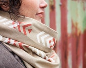 Arrows Infinity Cowl - Tan with Rust & White - Hand-Printed