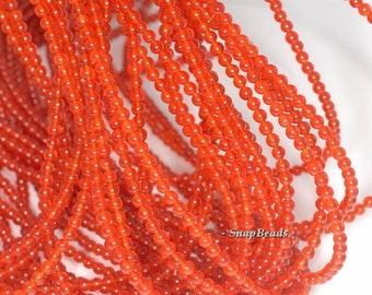 3mm Carnelian Red Agate Gemstone Round  Loose Beads 16 inch Full Strand (90113396-107 - 3mm A)