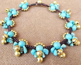 Lunar Turquoise Ankle Bracelet with Bells
