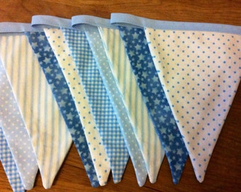 blue cotton fabric bunting