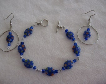 Millefiori Glass beaded necklace with earring set. Two different styles available.