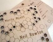 Modern Wooden wedding invitations - custom - honeycomb design
