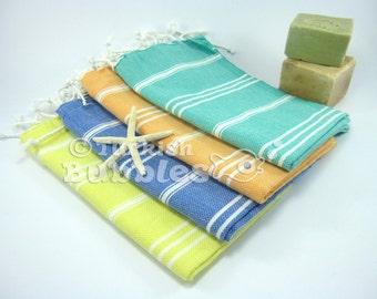FREE shipment Set of 4 Hand Head Towel Peshkir, TurkishTowel, Exclusive Quality Pure Turkish Cotton, Tea Towel, Kitchen Towel, Baby Towel