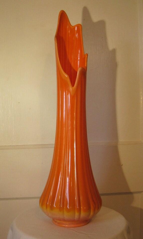 L E Smith Hand Blown Vintage Mid Century Modern Tall Orange