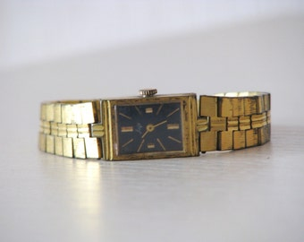 """Vintage Gold Plated Ladies Mechanical Wrist Watch """"Luch"""" - Made in USSR"""