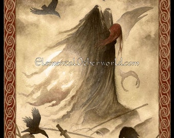 The Morrigan, signed A4 PRINT of my watercolour painting - The Phantom Queen, triple goddess from Celtic mythology, knotwork, ravens, crows
