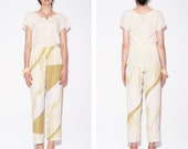RESERVED Abstract PALM PRINT vintage cream and green pants