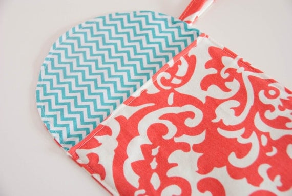 Baby Girl Coral and Turquoise Diaper Wipes Case - Turquoise Chevron print lining - Aqua Chevron - Wristlet