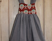 OOAK - Fully-lined Reverse Bow Dress - Girls' Size Large (9-10) - 100% Cotton designer fabric