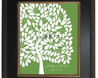 146 guest sign in - Custom Tree Art Print, Modern Guest Book Alternative, Signature tree, 20x24 - Personalized Print Art Print, 128