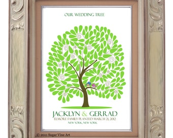 signature GUEST TREE, Modern Keepsake, Unique Wedding Guest Book, Interactive Art Print, 150 guest sign in 16x20, Personalized Print Art 110