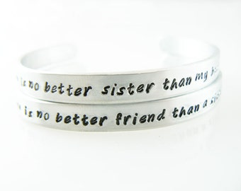 "sister bracelets hand stamped personalized friendship gift metal cuff Christmas gift stocking stuffer aluminum 1/4"" cuff customize it"