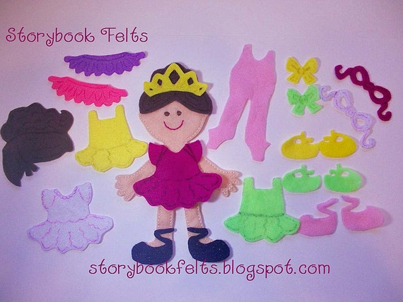 Storybook Felts Felt My Little Ballerina Doll Dress Up Set 23 PCS Paper Doll