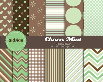 Mint brown chocolate digital paper pack personal and commercial use blog background