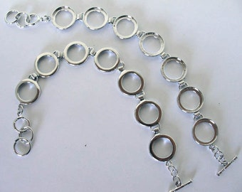 Silver Plated Brass Round link Bracelet Blank