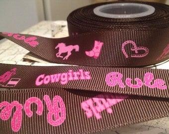 "3 yards 7/8"" Cowgirl Horse Western themed Grosgrain Ribbon"