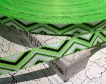 5 yards NEON Green Black and White CHEVRON Grosgrain Ribbon sold by the yard