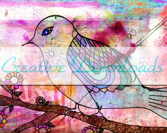 Perch digital collage printable download bird pink wings feathers tree flowers  colorful Robin Mead