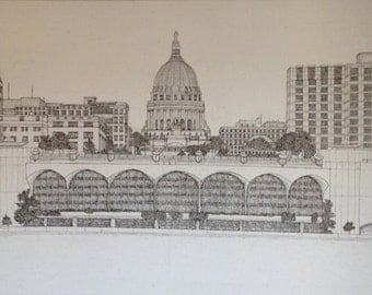 Black Ink on a canvas. Madison, Wi Skyline from Lake Monona