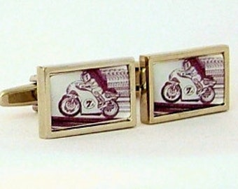 Motor Cycling Grahic Cufflinks from an original image