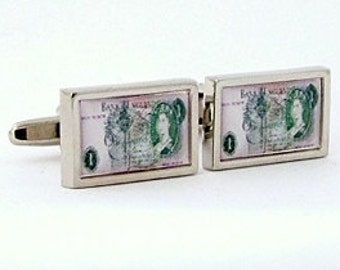 Vintage English blue Five Pound banknote Cufflinks from an original image
