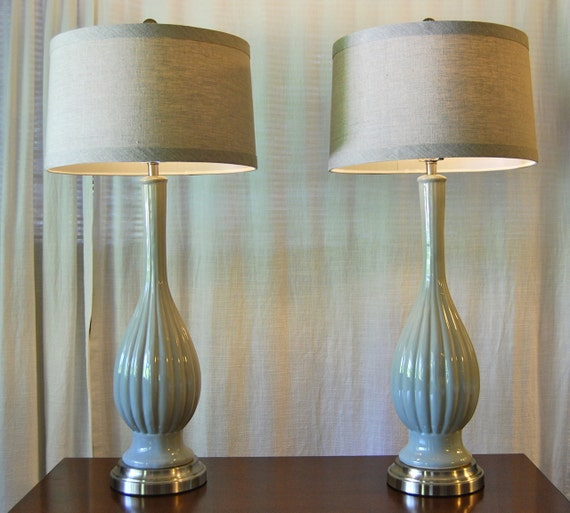 Set Of 2 Buffet Lamps Cordless Pair Of Pale Smoke Gray