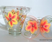 Martini Pitcher 2 glass Set Hand Painted Yellow Orange Flower Upcycled Design Gift Home Interior Housewarming Wedding Decor Bridal Shower