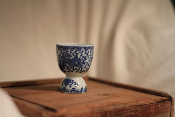 Vintage Blue and White Egg Cup made in Japan