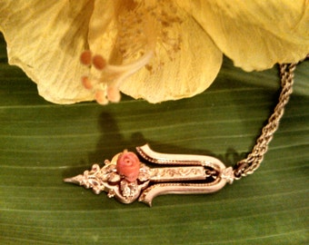 Victorian Necklace with Gold Filled Pendant and Coral