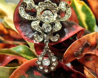 Edwardian Dangle Brooch with Paste Stones Beautiful for Wedding