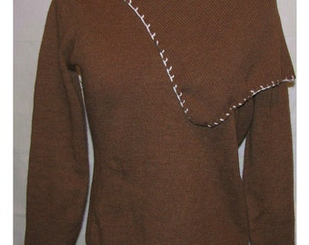 Brown de/reconstructed longsleeve sweater