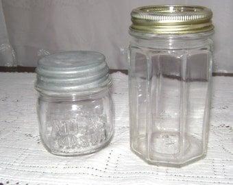 Vintage 1 Clear Maxwell House jar & 1 Clear Atlas Jar