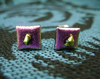 Pink Dichro Square Earrings
