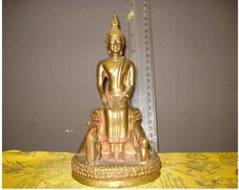Peaceful Buddha & Elephant with Momkey on Lotus Altar Bronze Statue