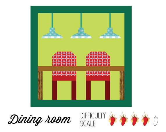 Dining room paper pieced quilt pattern in pdf for Dining room quilter