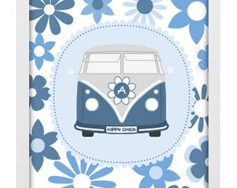 A4 Unframed Typographic Word Art Print - Personalised Hippy Chick Campervan - Perfect for a special occasion