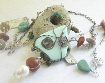 long necklace, earthy necklace jewelry, turquoise necklace, boho statement necklace, eco friendly upcycled jewelry, modern jewelry