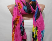 Fuchsia Bird Pattern Crinkled Scarf Shawl Circle Scarf Loop Scarf Long Scarf Beach Wrap, Miracle shine - MiracleShine