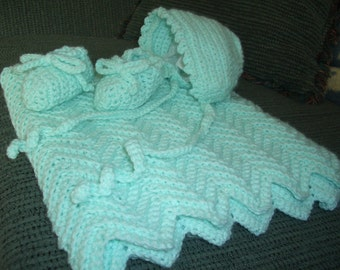 Baby mint  afghan with  bonnet and  booties..newborn-3mos.