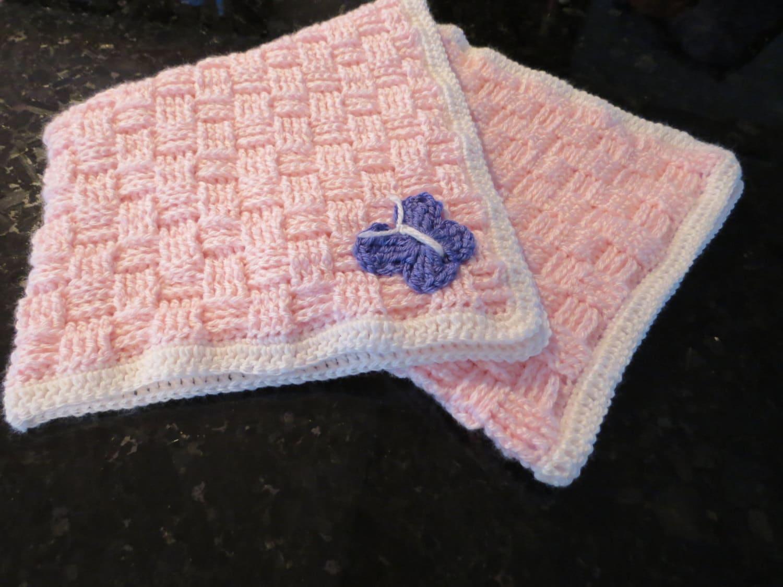 Crochet Baby Blanket Basket Weave Pattern : Small Basket Weave Crochet Baby Blanket 30x30 inches