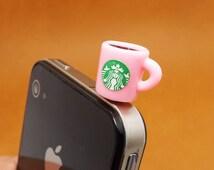 50%OFF Pink Starbucks Coffee Mark Cup Dust Plug 3.5mm Phone Plug iPhone 4S 5 5S SE 6S Plus Dust Plug Samsung Charm Headphone Jack Ear Cap