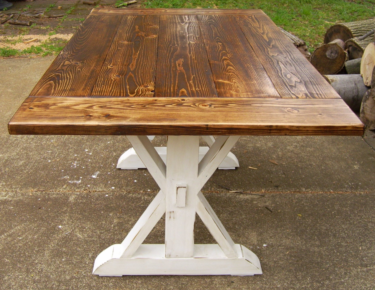 Dining table farmhouse reclaimed wood by wonderlandwoodworks for Farmhouse table plans with x legs