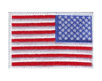 US Reverse White Border Flag Embroidered Patch